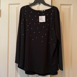 NWT - Joan Rivers Black Tunic Top with silver&gold